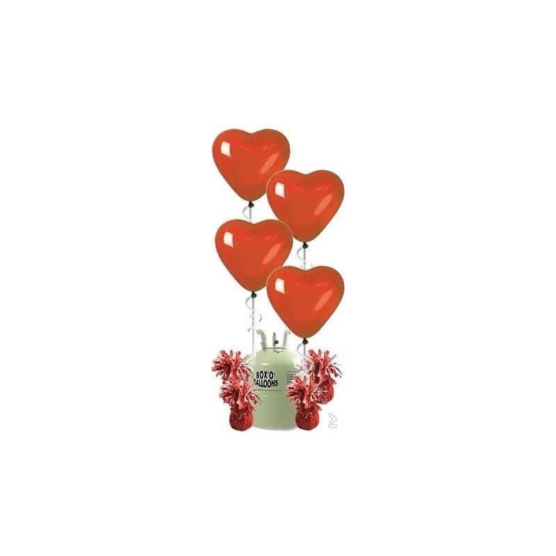 Helium met hart ballonnen voor 4 tot 7 setjes